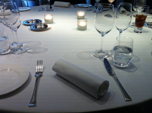 Minimalist table setting at Ametsa with Arzak instruction restaurant