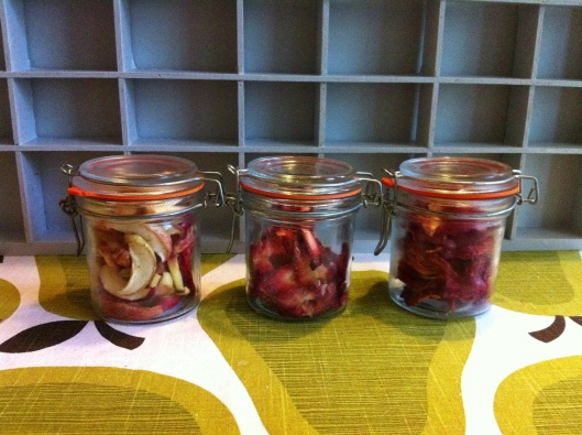 Jars of dried fruit ready for munching