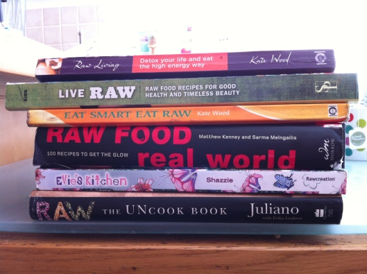 Selection of raw food cook books