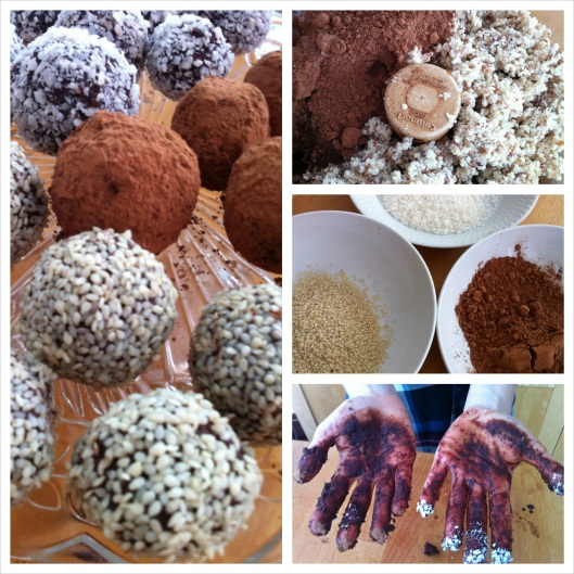 Cacao nut and fruit truffles