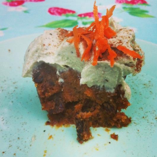 Texture of raw carrot cupcake